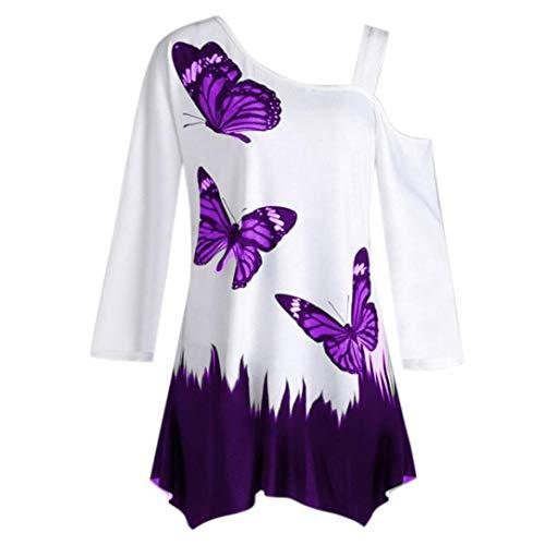 Manches Chemise Dessus Longues Femme Impression croise OSYARD Papillon Blanche Chemise Femme Polyester Violet Polyester Oblique en wn4XqF
