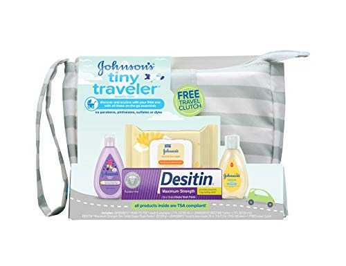 Johnson's Tiny Traveler Baby Gift Set, Baby Bath and Skin Care Essentials, TSA-Compliant, 5 Items