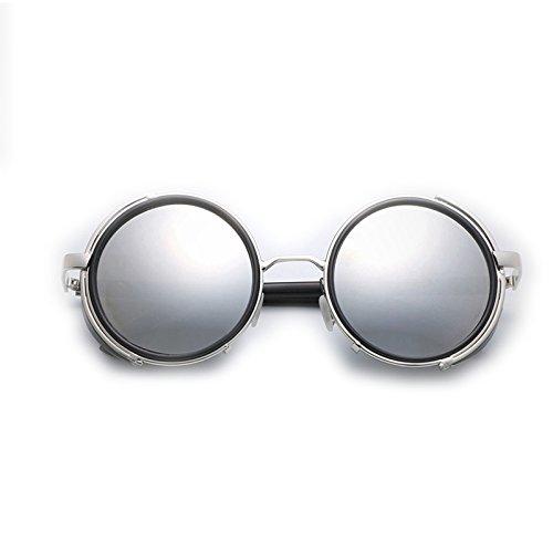 Vintage Cuero Plata Gafas para De Mujer De La Sol Negro LBY Hombre Color Gafas Mujer Y De Sol de Uzqtxwxd