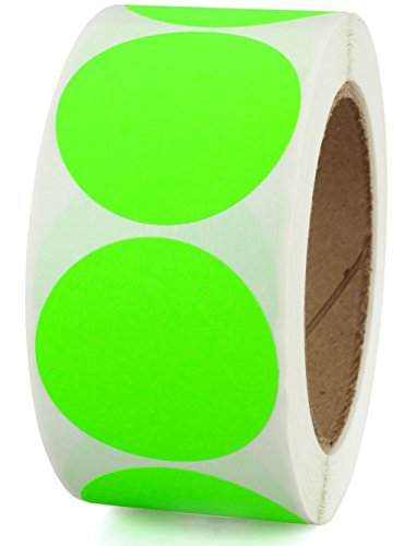 "2"" Fluorescent Green Color-Coding Dot Sticker Labels 