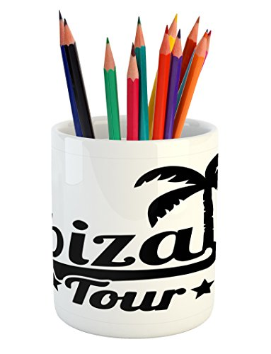 Cheap  Lunarable Ibiza Pencil Pen Holder, Exotic Tour Lettering with Stars and Palm..