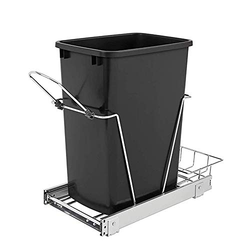 Rev-A-Shelf 35 Quart Pull Out Sliding Single Waste Trash Container Bin, Black (Put The Recycle Bin In The Recycle Bin)