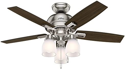 Hunter Donegan Indoor Ceiling Fan with LED Lights and Pull Chain Control, 44 , Bronze Dark