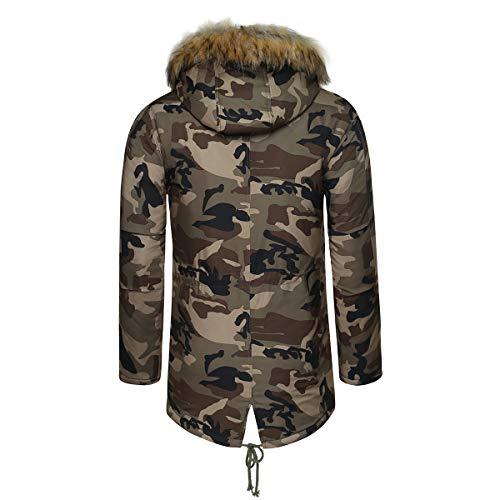 Hivers Fourrure Outwear Casual Camouflage Manteau Xs Veste Capuche xxl Long Sliktaa Homme Blouson Parka Chaud wpxWgCAxqB