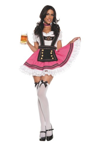 Beer Girl Sexy Costumes (Starline Women's Fancy Beer Girl Costume Dress Set, Pink, Small)
