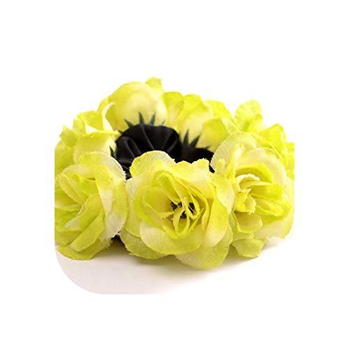 Big Rose Flower Elastics Hair Holders Rubber Bands Girls Women Cute Tie Gum Fabric Wreaths Crowns Wedding Hair Accessories,GR