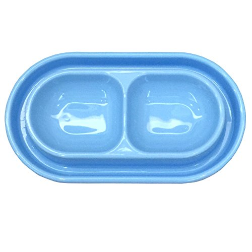 GRPET Cat Kitten Dish Dog Puppy Feeder Pet Bowl 3 Colors New Light Blue