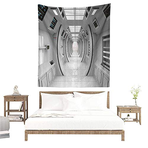 alisoso Cool Tapestries,Outer Space Decor,Cyber Tech Design with Art Effects Science Fiction Element Featured Station,White W51 x L60 inch 3D Nature Wall Hanging