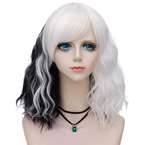 Probeauty Sweety Rainbow Collection Lolita 40CM Short Curly Women Lolita Anime Cosplay Wig + Wig Cap (Black Mix White A)]()