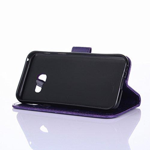 Yiizy Samsung Galaxy A3 (2017) / A320F / A320Y Custodia Cover, Erba Fiore Design Sottile Flip Portafoglio PU Pelle Cuoio Copertura Shell Case Slot Schede Cavalletto Stile Libro Bumper Protettivo Borsa
