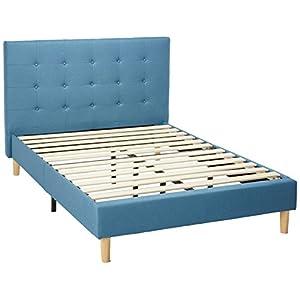 Zinus Upholstered Button Tufted Platform Bed / Strong Wood Slat Support