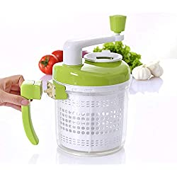 kilokelvin All-In-One Manual Food Chopper, Vegetable Chopper,Salad Spinner,Egg Seperator, Eggbeater, Whipper, Blender, Dicer, Mixer, Measuring Cup for Liquid, Green-White-A385