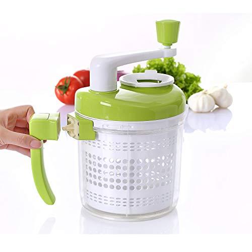 kilokelvin All-In-One Manual Food Chopper, Vegetable Chopper,Salad Spinner,Egg Seperator, Eggbeater, Whipper, Blender, Dicer, Mixer, Measuring Cup for Liquid, Green-White-A385