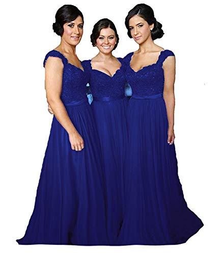 Fanciest Women' Cap Sleeve Lace Bridesmaid Dresses Long Wedding Party Gowns Royal Blue US8