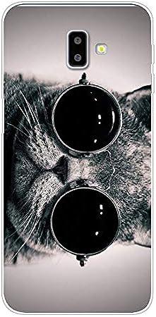 Aksuo Funda For Samsung Galaxy J6 Plus , TPU Anti-Rasguño Anti-Golpes Cover Protectora Transparente Claro Caso Slim Silicona Case - Gato Gafas de Sol