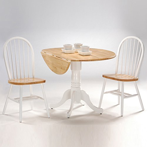 International Concepts 3-Piece 42-Inch Dual Drop Leaf Pedestal Table with 2 Windsor Chairs, White/Natural - Pedestal 2 Piece