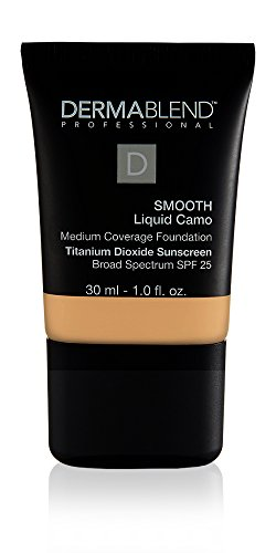 Dermablend Smooth Liquid Camo Medium to High Coverage Foundation Makeup with SPF 25, 30N Camel, 1 fl. oz. (Best Full Coverage Non Comedogenic Foundation)