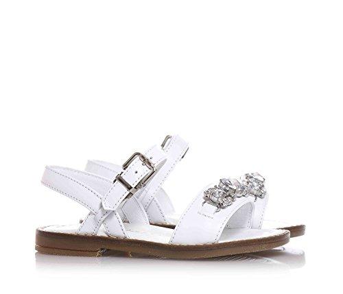 MISS GRANT - Sandale blanche en cuir, style élégant et très chic, avec fermeture avec boucle, pierres décoratives appliquées sur la partie frontale, Fille, Filles