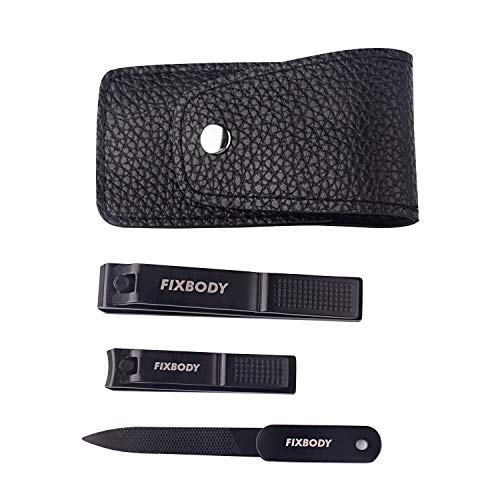 FIXBODY Black Stainless Steel Fingernails & Toenails Clippers Sharp Nail Cutter with Nail File & Leather Case