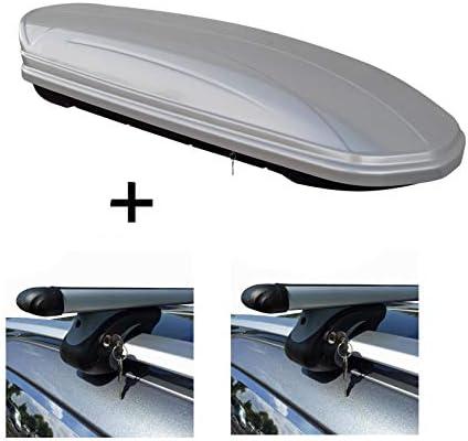 VDP Dachbox MAA 580 Liter Silber + Relingträger L120 kompatibel mit kompatibel mit BMW 3er Touring (Kombi) E91 05-'12