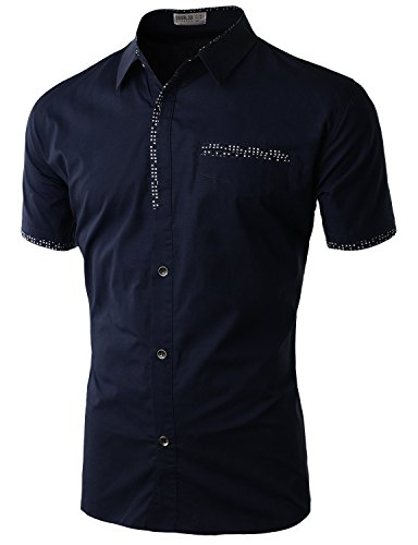 Doublju Mens Soft Contrast trimmed Button Down Top NAVY,S