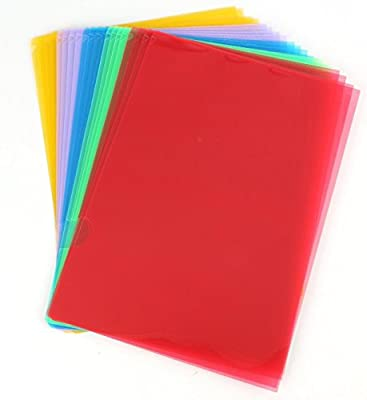 Fasmov Clear Document Folder Project Pockets, Set of 20 in 5 Assorted Colors (Yellow,Green,Blue,Purple,Red)