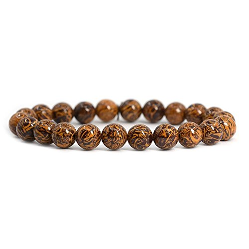 Natural Tiger Skin Jasper Gemstone 8mm Round Beads Stretch Bracelet 7