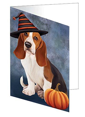 Happy Halloween Basset Hounds Dog Wearing Witch Hat with Pumpkin Greeting Card (Halloween Hound Pumpkin)