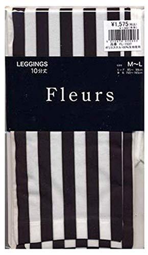 胸ペルメル服を洗う(フルール) Fleurs 10分丈 30デニール ゾッキ タイプ ストライプ 柄 プリント レギンス M-L