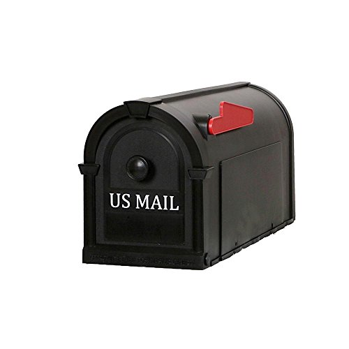 Postal Pro Hampton Post-Mount Mailbox, Black with White Lettering