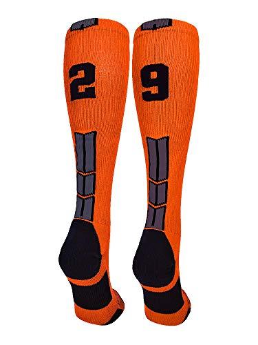 MadSportsStuff Orange/Black Player Id Over The Calf Number Socks (#29, Small)