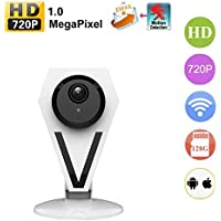 Agazer Mini Security Camera, 720P HD 1.3 Megapixel WiFi Wireless IP Camera Home Surveillance Monitor, Monitoring for Baby Nanny Pet, Day and Night Motion Detect Mobile Tablet View (612-130, White)
