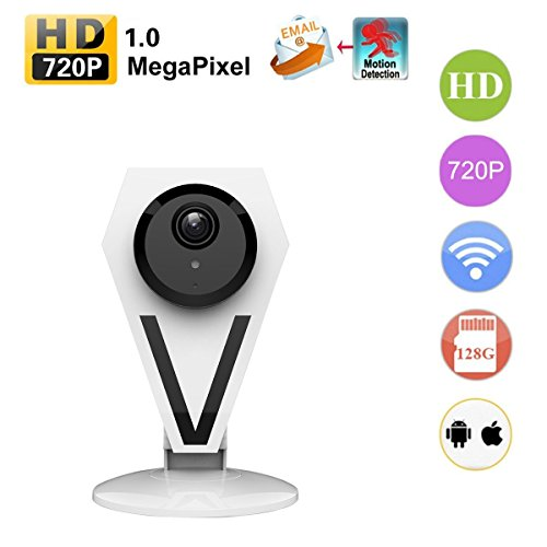 Agazer Mini Security Camera, 720P HD 1.0 Megapixel WiFi Wireless IP Camera Home Surveillance Monitor, Monitoring for Baby Nanny Pet, Day and Night Motion Detect Mobile Tablet View (612-100, White) (Ftp White Glasses)