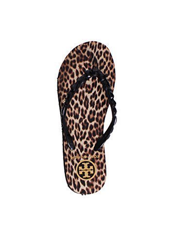 Tory Burch Flip Flops Shoes Sandals Flat Rubber New (6 B(M) US, Leopard, Black Leopard)