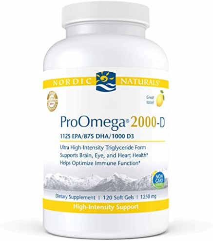 Nordic Naturals ProOmega 2000-D - Fish Oil, 1125 mg EPA, 875 mg DHA, 1000 IU Vitamin D3, High-Intensity Support for Cardiovascular, Neurological, Eye, and Immune Health*, Lemon Flavor, 120 Soft Gels