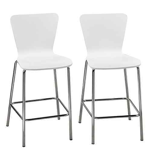 Target Marketing Systems Pisa Collection Modern Armless Counter Stools with Chrome Plated Legs and Concave Back Design, Set of 2, 30