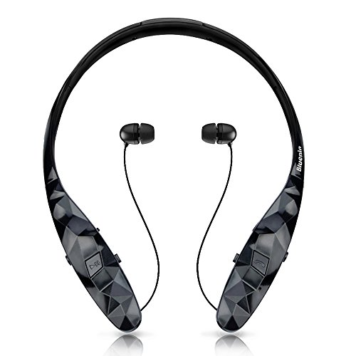 Wireless Headphones, Bluenin Bluetooth Earbuds Sports Neckband Freedom Headsets Sweatproof Noise Cancel Earphones with Mic for apple iphone 7 6s Samsung and Android (12 Hours Play Time, 970 Black)