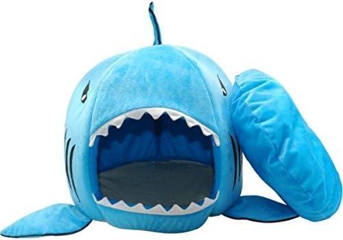 BADASS SHARKS Hai-Motive Hundehütte Hundebett Hundekörbchen Katzenbett mit Kissen Hundehaus Haustier Schlafsack für drinnen Waschbar Haus & Sofa 42cm