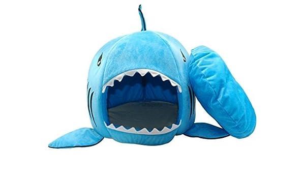 BADASS SHARKS 2 en 1 Cama de tiburón para Mascota, Perro, Gato o Gato, Suave Cama casa Saco de Dormir con cojín: Amazon.es: Productos para mascotas