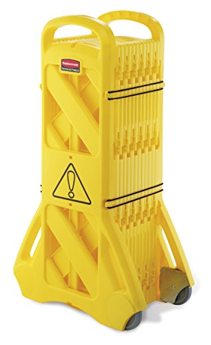 Rubbermaid Commercial 13-Foot Extendable Mobile Safety Sign/Barrier with Locking Straps, Yellow (FG9S1100YEL)