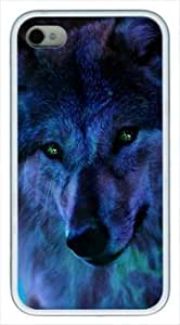 Cool Wolf 003 Iphone 4 4S Rubber Shell White Edges Cover Case by Lilyshouse by ruishername
