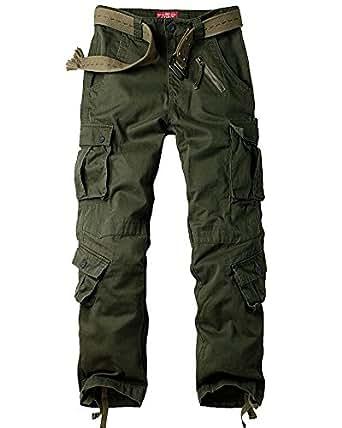 Men's Loose Cotton Cargo Pants#7533,Army Green,29