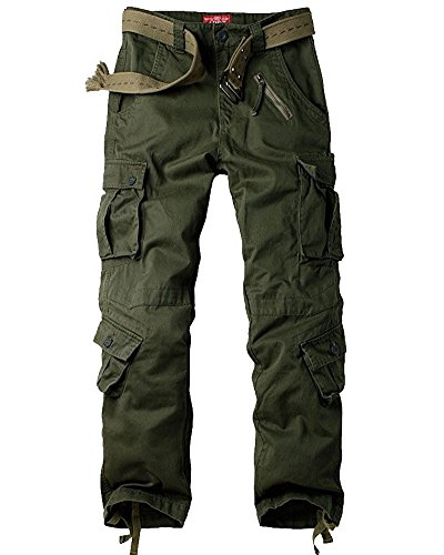 Jessie Kidden Men's Casual Military Cargo Pants, 8 Pockets Cotton Wild Combat Tactical Trousers,7533 Army Green,30