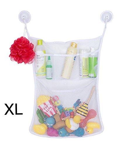 Bath Toy Organizer by Homez - Big White Bath Toys mesh net Bag 20.4-17.7inch + 3 Pockets+ 2 Big Suction Hooks. Baby, Toddler, Kids Storage Organizer, Mold Free Shower Toy Bag, Travel, Baby Bathtub.