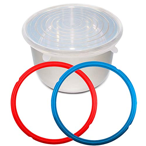 (Nice-Components Silicone Lid Cover 6 Quart for InstanPot Accessories, Silicone Sealing Rings for 6qt IP Models, Sweet and Savoury (Red/Blue) Edition)