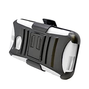 Dual Layer Plastic Silicone Black On White Hard Cover Snap On Case W/ Belt Clip Holster Kickstand For HTC One 2 M8 (Accessorys4Less)