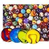 Glass Marbles Bulk, Set of 40, (36 Players and 4 Shooters) Assorted Colors, with Game Marbles Rules.