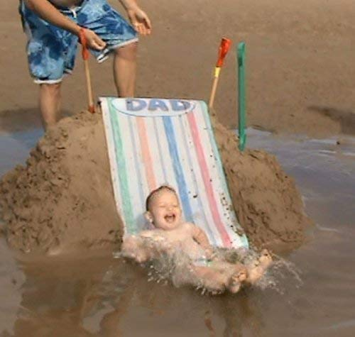anchors to your sand heap suits age 3-6yrs In UV protected bright green Beach Sand Slide also may be used as a snow or sand Sledge.