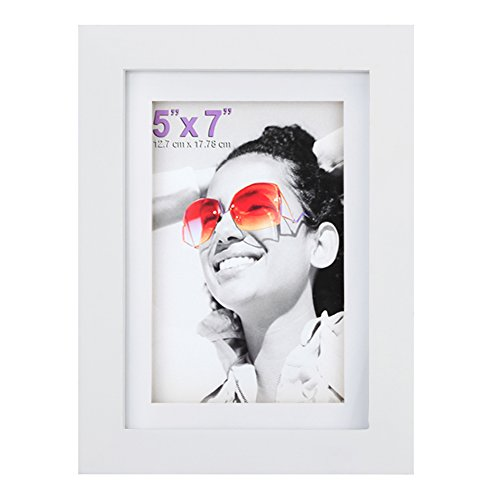 RPJC 5x7 inch Picture Frame Made of Solid Wood and High Definition Glass Display Pictures 4x6 with Mat or 5x7 Without Mat for Wall Mounting Photo Frame White - Wood 7 Piece Glass