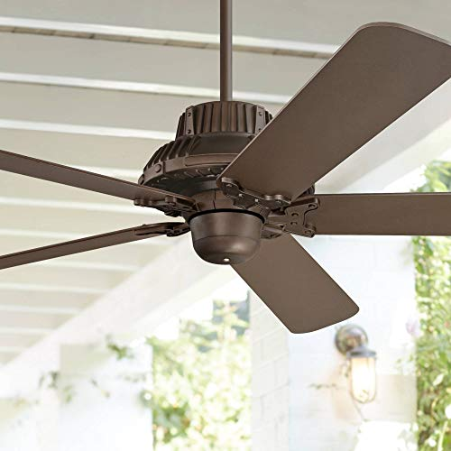 60 Industrial Forge Rustic Outdoor Ceiling Fan Oil Rubbed Bronze Damp Rated for Patio Porch - Casa Vieja